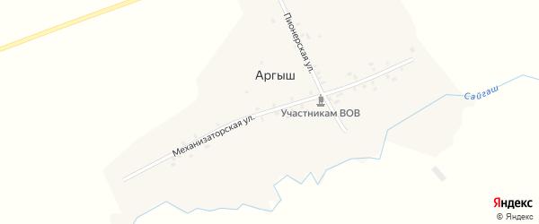 Механизаторская улица на карте деревни Аргыша с номерами домов