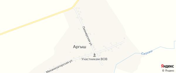 Пионерская улица на карте деревни Аргыша с номерами домов