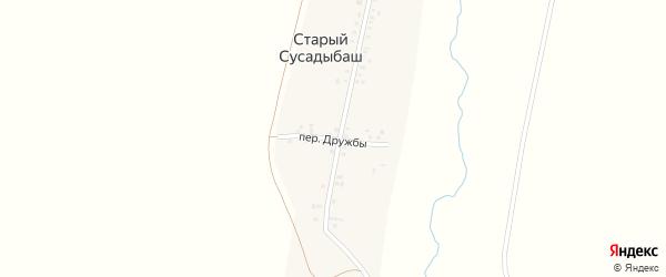 Переулок Дружбы на карте деревни Старого Сусадыбаша с номерами домов