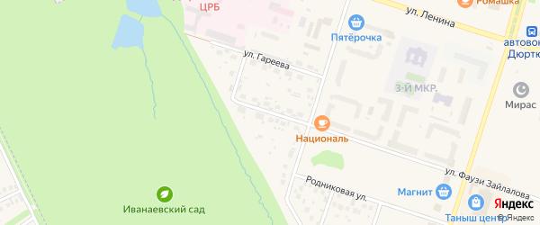 Улица Краснофлотца Хайруллина на карте Дюртюлей с номерами домов