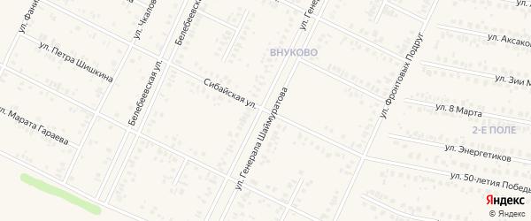 Сибайская улица на карте Дюртюлей с номерами домов
