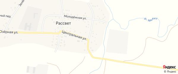 Цветочная улица на карте деревни Рассвета с номерами домов