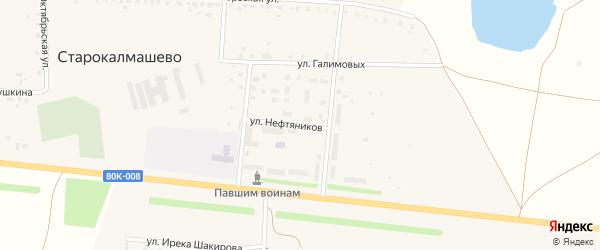 Улица Нефтяников на карте села Старокалмашево с номерами домов