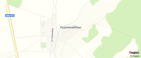 Карта деревни Курманайбаша в Башкортостане с улицами и номерами домов