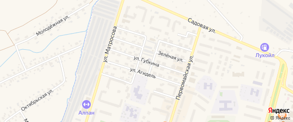 Улица Губкина на карте Дюртюлей с номерами домов