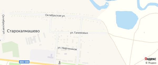 Улица Галимовых на карте села Старокалмашево с номерами домов