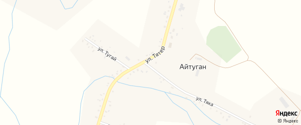 Улица Тятер на карте села Айтугана с номерами домов