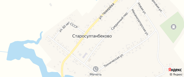 Улица Мира на карте села Старосултанбеково с номерами домов
