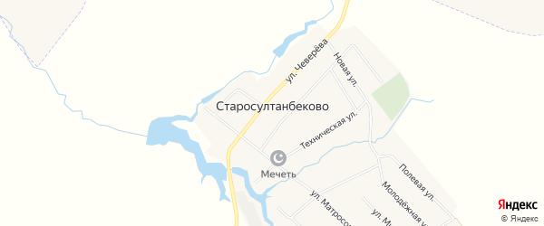 Карта села Старосултанбеково в Башкортостане с улицами и номерами домов