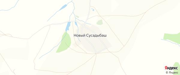 Карта деревни Нового Сусадыбаша в Башкортостане с улицами и номерами домов