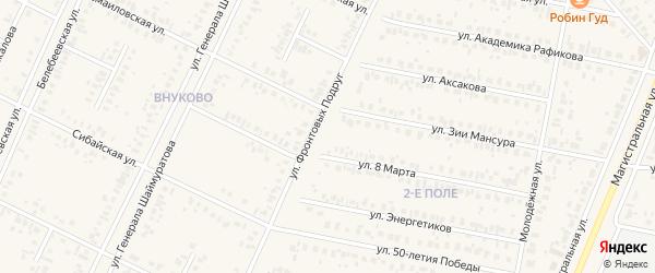 Улица Фронтовых подруг на карте Дюртюлей с номерами домов