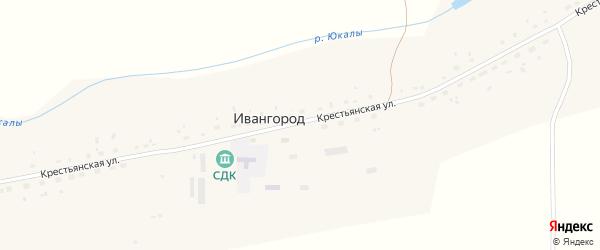 Крестьянская улица на карте деревни Ивангорода с номерами домов