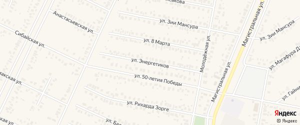 Улица Энергетиков на карте Дюртюлей с номерами домов