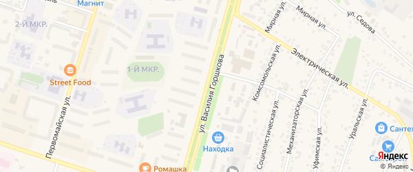 Улица Василия Горшкова на карте Дюртюлей с номерами домов