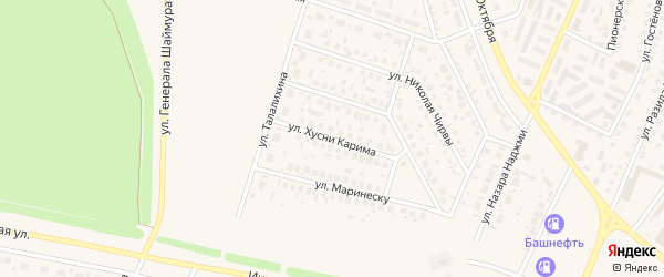 Улица Хусни Карима на карте Дюртюлей с номерами домов