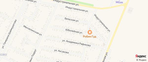 Юбилейная улица на карте Дюртюлей с номерами домов
