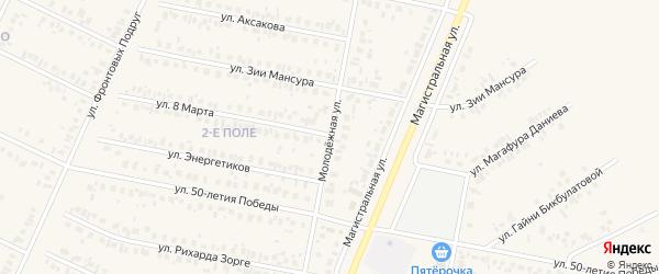 Молодежная улица на карте Дюртюлей с номерами домов
