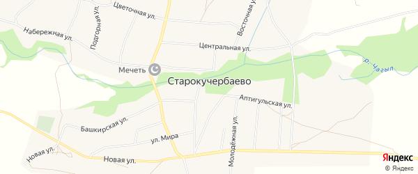 Карта села Старокучербаево в Башкортостане с улицами и номерами домов