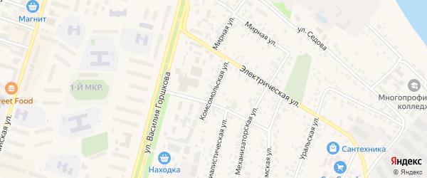 Комсомольская улица на карте Дюртюлей с номерами домов