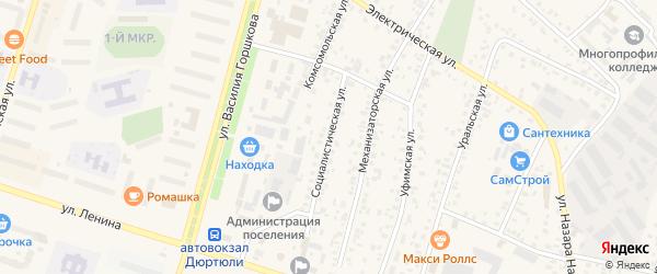 Социалистическая улица на карте Дюртюлей с номерами домов