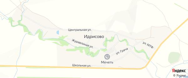 Карта деревни Идрисово в Башкортостане с улицами и номерами домов