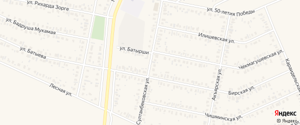 Султанбековская улица на карте Дюртюлей с номерами домов