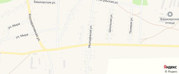 Молодежная улица на карте села Старокучербаево с номерами домов