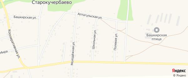 Школьная улица на карте села Старокучербаево с номерами домов