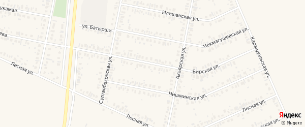 Бирская улица на карте Дюртюлей с номерами домов