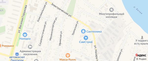 Уральская улица на карте Дюртюлей с номерами домов