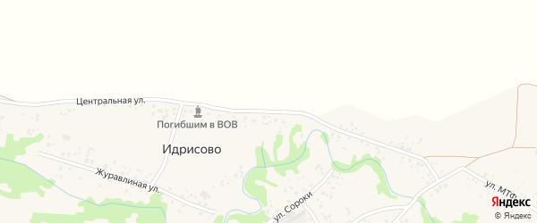 Центральная улица на карте деревни Идрисово с номерами домов