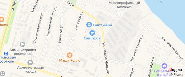 Улица Степана Вострецова на карте Дюртюлей с номерами домов