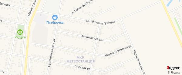 Илишевская улица на карте Дюртюлей с номерами домов