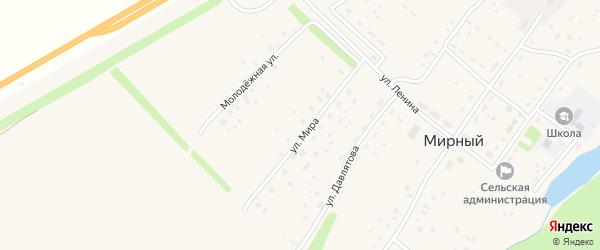 Улица Мира на карте села Мирного с номерами домов