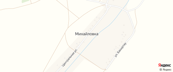 Улица Бакыртау на карте села Михайловки с номерами домов