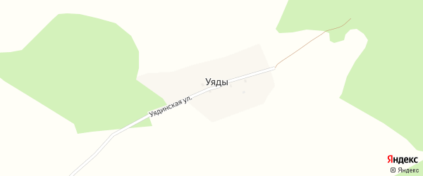 Уядинская улица на карте деревни Уяды с номерами домов