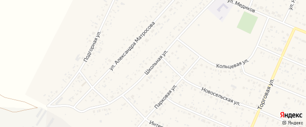 Школьная улица на карте села Раевского с номерами домов
