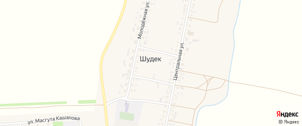 Улица Масгута Кашапова на карте села Шудека с номерами домов