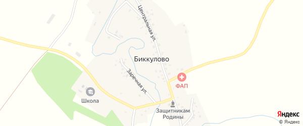 Школьная улица на карте села Биккулово с номерами домов