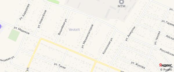 Улица Механизаторов на карте села Раевского с номерами домов