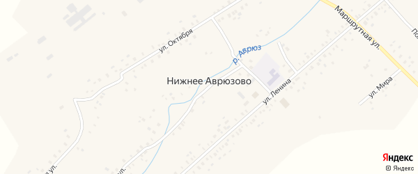 Улица Ленина на карте села Нижнее Аврюзово с номерами домов