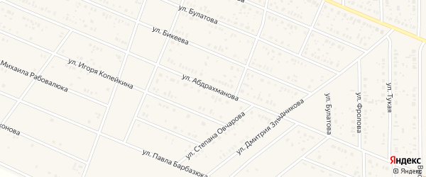 Улица Абдрахманова на карте села Раевского с номерами домов
