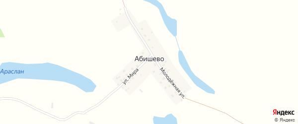 Молодежная улица на карте деревни Абишево с номерами домов