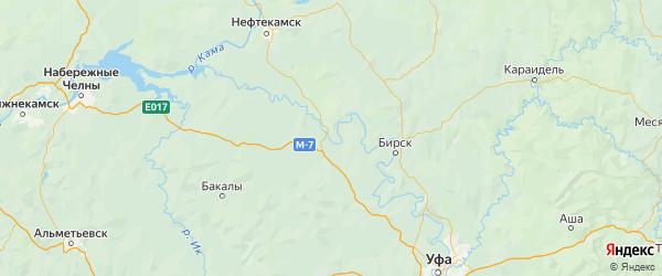 Карта Дюртюлинского района республики Башкортостан с городами и населенными пунктами