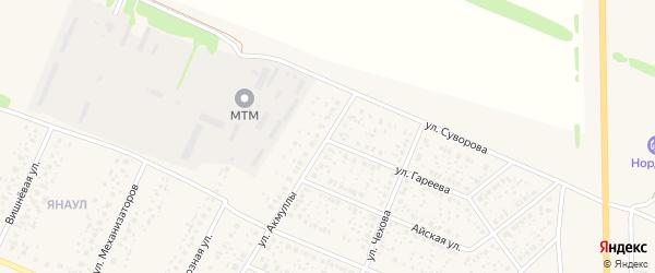 Улица Акмуллы на карте села Раевского с номерами домов