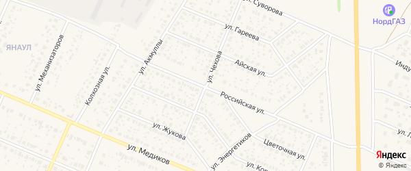 Улица Чехова на карте села Раевского с номерами домов