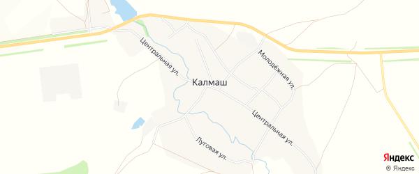 Карта деревни Калмаша в Башкортостане с улицами и номерами домов