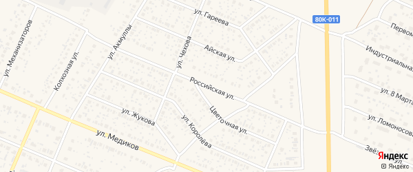 Российская улица на карте села Раевского с номерами домов