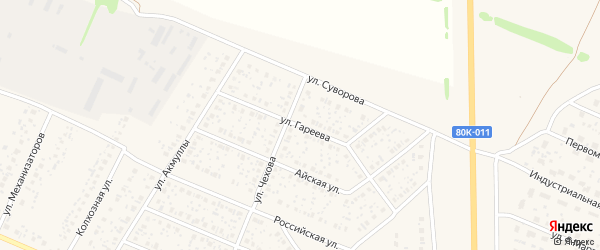 Улица Гареева на карте села Раевского с номерами домов