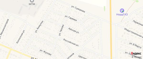 Айская улица на карте села Раевского с номерами домов